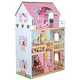boppi® Casa delle bambole alta a 3 piani in legno per bambine, Villa di città con ascensore + Accessori d'arredamento con cui giocare
