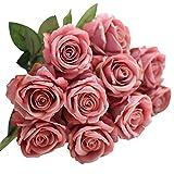 LUCKDE Kunstblumen Rosen, Deko Blumen 5 Stück Künstlich Blumen Hochzeit Seidenblumen Gefälschte Flower Plastikblumen Hochzeitsblumenstrauß für Hausgarten Party Blume Dekoration (I)