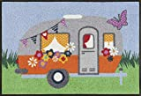 wash+dry Happy Camping Fußmatte, Acryl, bunt, 50 x 75 x 0.7 cm