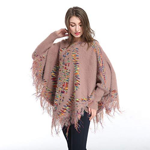 Ahuiopl donna manica lunga soprabito mantello in pelliccia sintetica maglione vogue inverno morbida maglieria mantella femminile maglione poncho sciarpa cappotto