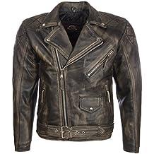 Aviatrix Uomo Vera Pelle Vintage Look Giacca di Biker Moda con Cintura 72ce06f6038