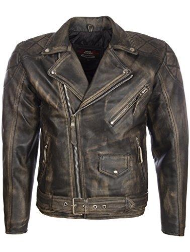 MDK Hombres Cuero Real Aspecto Vintage Cinturón Chaqueta De Moto Moda