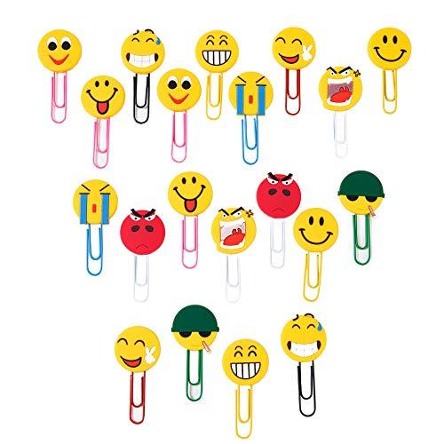 Büroklammer Lustige Lesezeichen Emoji Paperclip Neuheit Emoticon Buch Marker für Kinder Mädchen Jungen Schüler 20 Stück