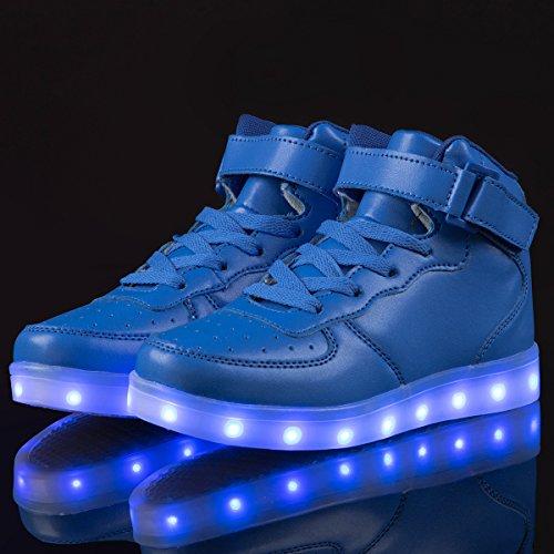 AFFINEST Haut-dessus chargement USB LED chaussures clignotant chaussures de sport pour les enfants Bleu
