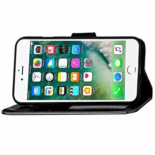 """[iPhone 7 Plus 5.5"""" pouce] Glossy Brillant Coque en Cuir, iPhone 7 Plus Folio Flip Leather Wallet Coque Housse ,Etsue Bling élégance Bonbon Des Couleurs Mode étui Case Coque Portefeuille de Protection Noir"""