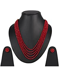 DS Opaque Beads Five Layer Party Wear Necklace With Earrings For Women Girls