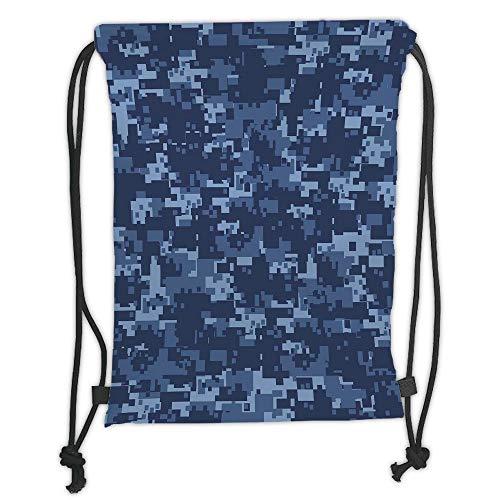 Juzijiang Drawstring Sack Backpacks Bags,Camo,Militaristic Digital Effected Armed Forces Pattern Grunge Fashion in Blue,Dark Blue Light Blue Soft Satin Closure,,5 Liter Capacity,Adjustable. -