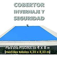 Cobertor, lona, cubierta, toldo… de invierno para cubrir una piscina de 4 x 8 m. Medidas totales del cobertor: 4,30 x 8,30 m. Incluye: Cobertor + Anclajes escamoteables 100% inox + Tensores de 8 mm + Saco de almacenaje. Color: Azul y negro en el reverso. Opacidad total – Forma: rectangular.