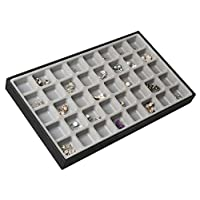 Jack Cube Design 40 Compartments Stackable Leather Jewelry Tray Earring Necklace Bracelet Ring Organizer Display Storage Box(Set of 1, 16 x 9.6 x 1.6 inches)-MK212-1A