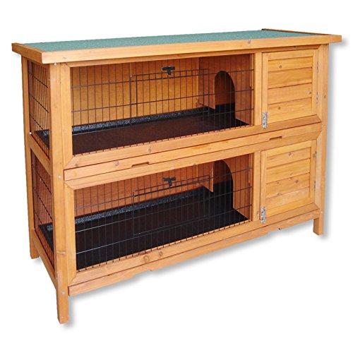 WilTec Double cabane à lapins ou à petits rongeurs à deux étages