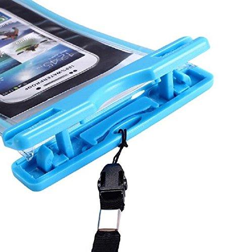 Hosaire 1X Cellulare Impermeabile Universale 6 Pollici Waterproof Cover Case Impermeabile per iPhone SE / 6s / 6s plus / 6 / 6 plus / 5s / 5c / 5, Samsung S7 / S7 edge / S6 / S5 ed altri Smartphone, e Blu