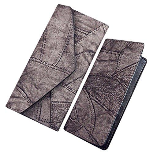 Longra 2pcs moda donne: cucitura portafoglio frizione titolare della carta borsa + borsa piccola Grigio