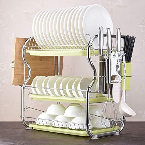 ZYH-shelf Geschirrablage Rack Halter, 3 Tiers Draht Chrom Legierung Küche Waschen Regal Tropfschale Besteckhalter Mit Schneidebrett,Green - 3 Regal, Chrom-draht