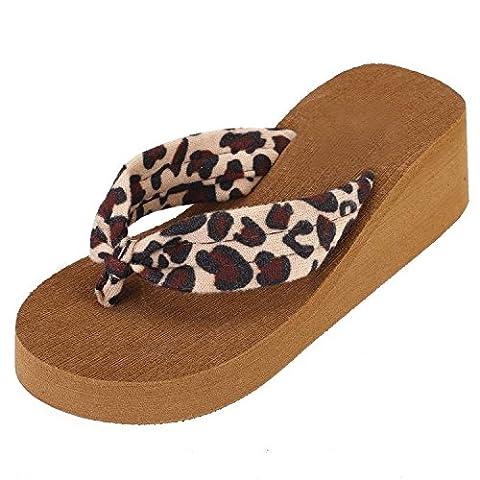 Minetom Femmes été Léopard Impression Tongs Sandales à Talons Plage Chaussures ( Jaune EU 36 )