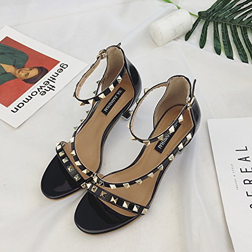 XY&GK Open Toe Rivet Sandales femme's Summer Ferret amende avec Rome High Heels, confortable et belle 38 black