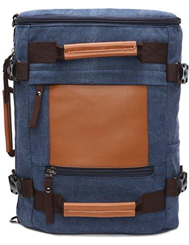 Leaper Canvas Rucksack Handtasche Reiserucksack für Outdoor Außflug Sport (Schwarz) Blau