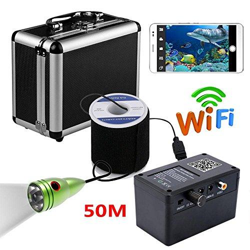 Agua De Camaras (HD Wifi Wireless 50M Unterwasserfischen-Kamera-Videoaufnahme für IOS Android APP unterstützt Videoaufzeichnung und nehmen Foto, 6 PCS 1W weiße LED)