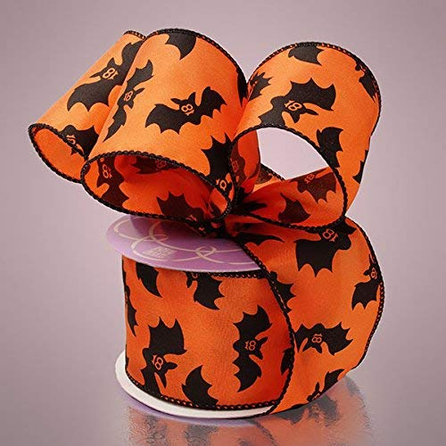 2-1/5,1cm X 10yd schwarz Fledermäuse auf Orange Halloween Satin Band mit Draht (1Rolle)