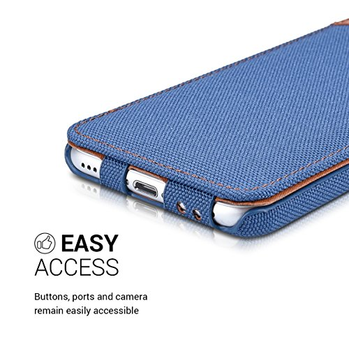 kalibri Cover Emma per Apple iPhone 7 / 8 - Custodia libro in vera pelle e tessuto Flip cover protettiva case per cellulare marrone antracite .blu marrone