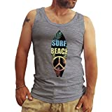 Friendly Bees Surfers Board Surf Beach Peace Woodstock Gris Hombres Camiseta Sin Mangas Tank Tops Medium