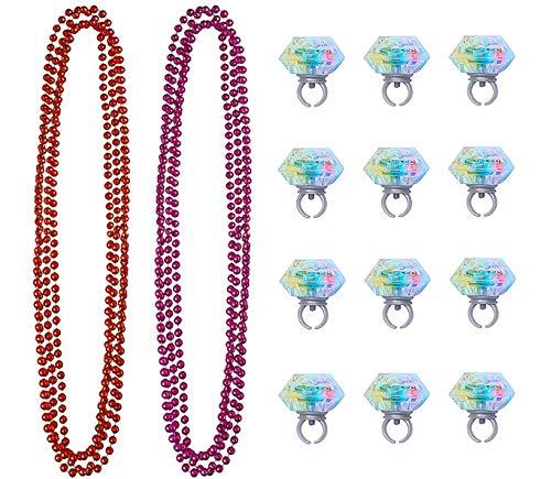 BELLE VOUS Mardi Gras Perlenketten (10 pcs), LED Blinkende Ringe (12 pcs) - 5 Bordeaux Rot, 5 Pink Festliche Perlen Halsketten (39cm) für Festliche Karneval, Kostüme Thema Party, Weihnachten