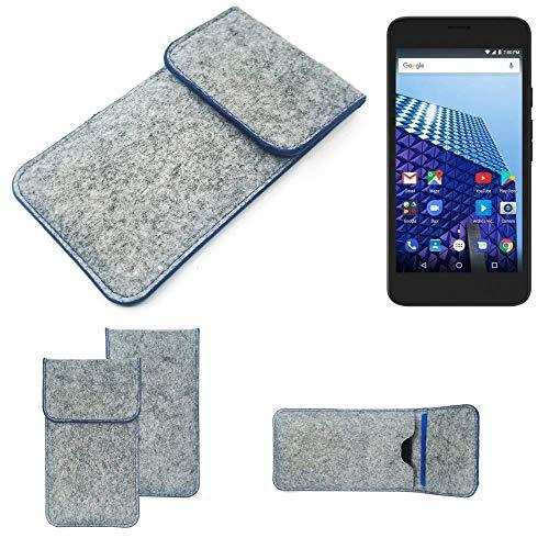 K-S-Trade® Filz Schutz Hülle Für -Archos Access 55 3G- Schutzhülle Filztasche Pouch Tasche Case Sleeve Handyhülle Filzhülle Hellgrau, Blauer Rand