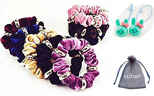 Cuhair(tm) 10pcs Women Girl Large Velvet Hair Scrunchie with Metal Elastic Hair Band Ponytail Holder Tie Accessories by cuhair