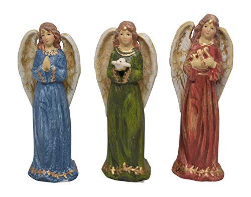 Christliche Dekofiguren Engel in Rot, Blau und Grün, 3 Stück (Schwarze Und Weiße-krippe-set)