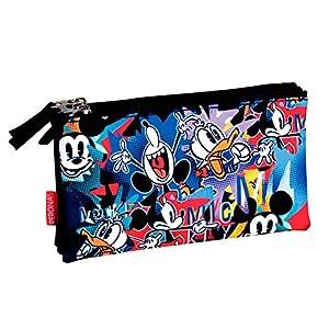 Mickey Mouse- Estuche portatodo Triple Plano, Multicolor, 22 cm (Montichelvo 54170)