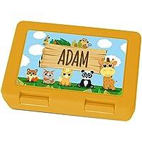 Preisvergleich für Brotdose mit Namen Adam - Motiv Zoo, Lunchbox mit Namen, Frühstücksdose Kunststoff lebensmittelecht