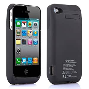 Black 3000mAh External Power Rechargable Battery Pack Charger Charging Backup Battery Case Cover For iPhone 4S 4