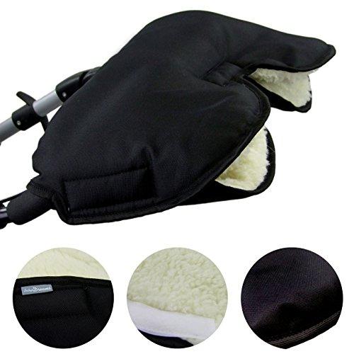BAMBINIWELT universaler Muff/Handwärmer für Kinderwagen, Buggy, Jogger mit Wolle, UNI (Schwarz)