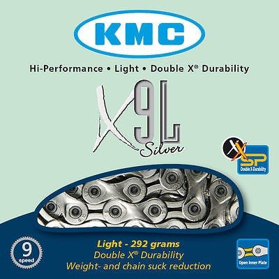 KMC X9L-Light Silver Chain for Bikes AD 9Relations 292Gr MTB Hybrid Running