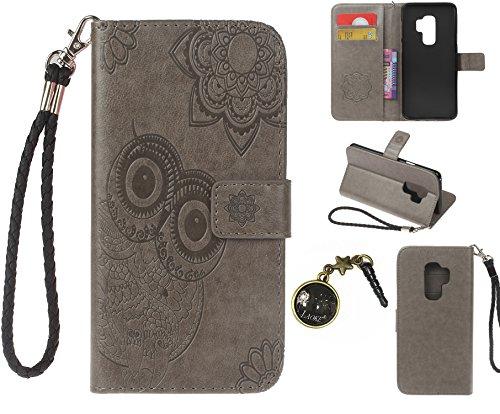 Preisvergleich Produktbild Galaxy S9 Plus S9+ Case Leder Tasche Case Hülle im Bookstyle mit Standfunktion Kartenfächer für (Samsung Galaxy S9 Plus / S9+ 6,2 Zoll 2018 Veröffentlicht) Hülle +Staubstecker (4)