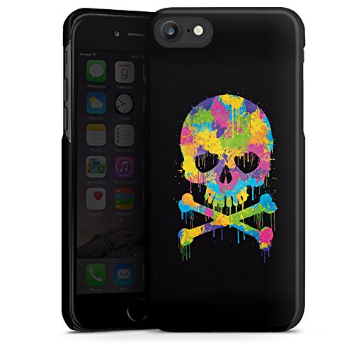 Apple iPhone X Silikon Hülle Case Schutzhülle Skull Watercolour Totenkopf Schädel Hard Case schwarz