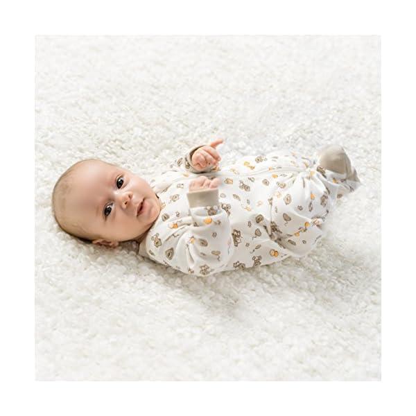 Jacky – Juego de 2 peleles / pijamas de bebé con pies – unisex – 100% algodón – blanco / beige – producto libre de… 5