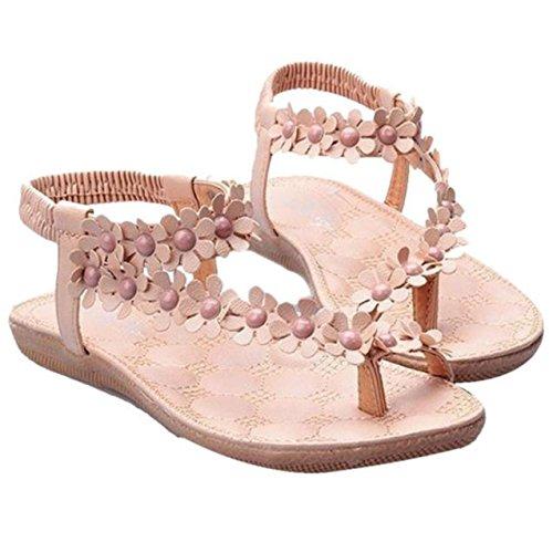 LHWY Damen Bohemia Sweet Beaded Sandalen Clip Toe Sandalen Strand Schuhe Khaki
