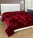 #8: Warmland Mink Embossed Solid Polyester Double Blanket - Maroon