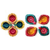 Fressia Diya For Decoration | Diya For Puja | Diya Holder Decorative | Diya Lamps For Pooja | Diwali Gifts And Decoration(Set Of 8, Handmade)