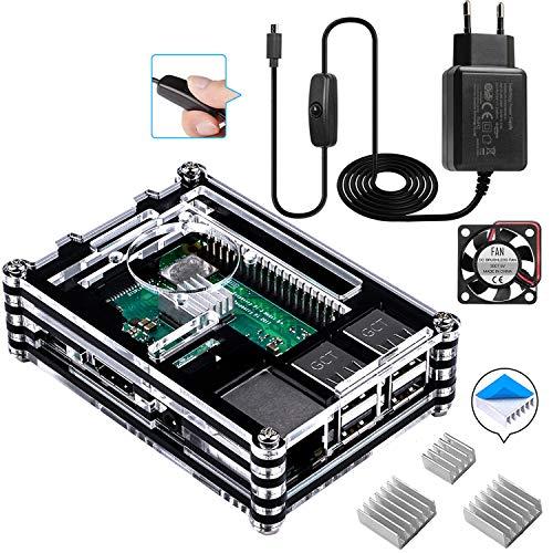 Smraza für Raspberry Pi 3 b+ Gehäuse mit 1.5m Kabel Netzteil 5V 2.5A mit Schalter EIN/Aus + Lüfter + 3 x Kühlkörper für Raspberry Pi 3 Pi 2 Modell b+ b case(Ohne Raspberry Pi) - Gehäuse-set