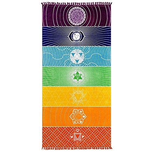 "AlgodóN De Tejido De Microfibra De Bohemia India Mandala Playa Manta 7Chakra Rainbow Wall Hanging Tapestry Playa Yoga Mat Toalla De BañO Con Flecos, 59""X30"""