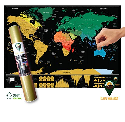 Global Walkabout - Póster Mapa Mundo rascar Fondo