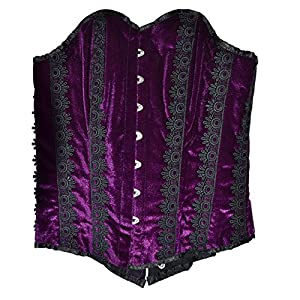 "El celibato 53022841.430XS -Burlesque Steampunk àÅ""berbrust ramillete floral patrón - XS 32/34, púrpura/negro"