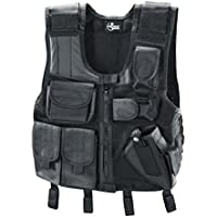 Combat Zone Adultos Chaleco Tactical, Color Negro, tamaño Universal