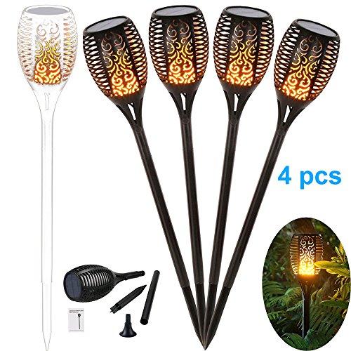4 Stück Solar Gartenleuchte Solar Garten Beleuchtung Garten Licht, Solarlampe mit IP65 wasserdicht und realistischen Flammen