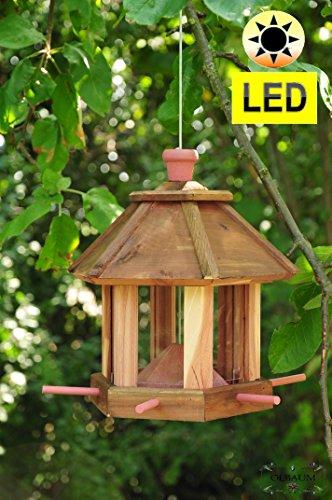 Futterhaus ZedernHolz – MIT Beleuchtung,LED-Licht / Premium Vogelhaus (TEAK) DUNKELBRAUN,BEL-dbraun groß, Vogelhaus mit XXL- Silo + Anflughilfe,WETTERFEST, Holz futterhaus für Vögel,mit Vogelfutter-Station Farbe braun dunkelbraun schokobraun rustikal klassisch,Ausführung Naturholz MIT WETTERSCHUTZ-DACH für trockenes Futter - 5