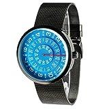Mykonos Design 'Visus Sky' Quartz Acier Inoxydable IP Noir Maille Bleu Gunmetal Disques Unisex Montre