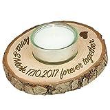 Rindenscheibe mit Teelicht Holzscheibe Kerze Glas Deko Natur mit individueller Gravur Wunschtext Durchmesser ca. 100 mm