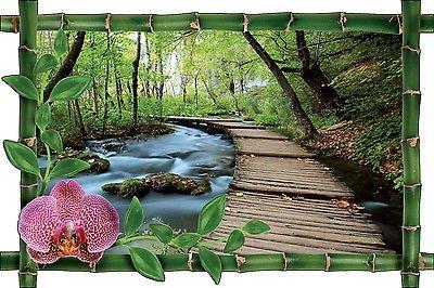 Decooo.be-Adesivo da parete, motivo: trompe l'oeil, motivo: Bambù, runner, motivo: foresta, rif. 1014, 39x26cm - Adesivo Runner