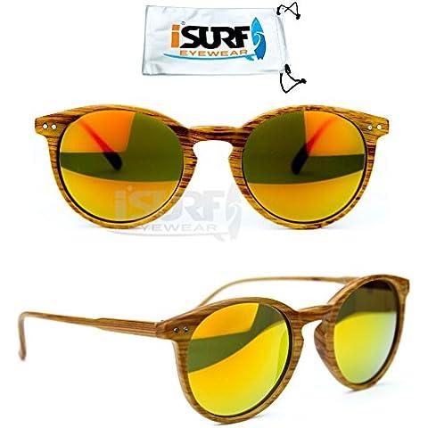 OCCHIALI DA SOLE MARCA ISURF RB ROTONDI ROUND WOOD RAY EFFETTO LEGNO UNISEX 2180 (Occhiali da sole)